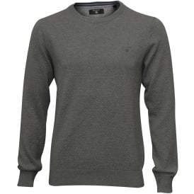 Dot Texture Crew-Neck Sweater, Grey Melange