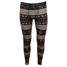 Fair Isle Pattern Stretch Cotton Long Johns, Grey/Navy