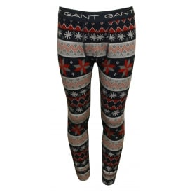 Gant Fair Isle Print Boys Long Johns, Grey/Blue