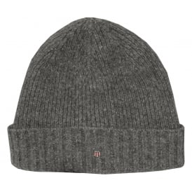 Fleece-Lined Wool Cotton Mix Beanie Hat, Dark Grey Melange