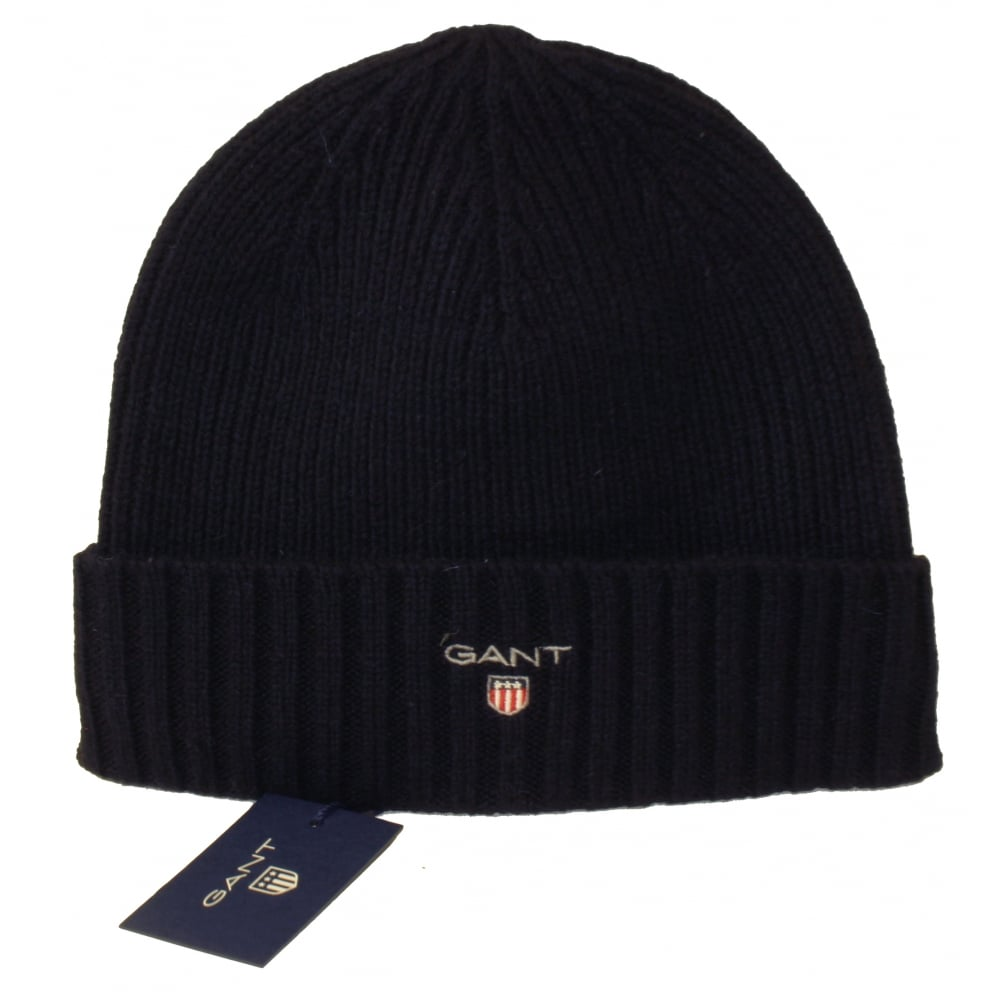 e9ae1eb7 Gant LFleece-Lined Wool Cotton Mix Beanie Hat, Navy | UnderU