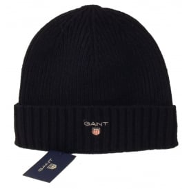 Fleece-Lined Wool Cotton Mix Beanie Hat, Navy