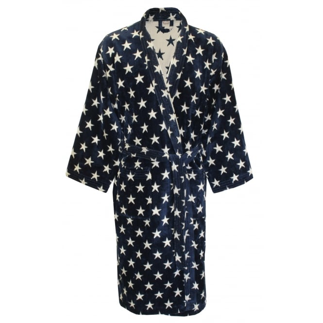 Gant Glory Velour Star Towelling Bathrobe, Navy