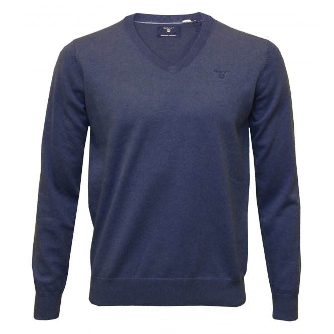 Gant Lightweight Cotton V-Neck Sweater, Blue Melange