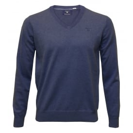 Lightweight Cotton V-Neck Sweater, Blue Melange