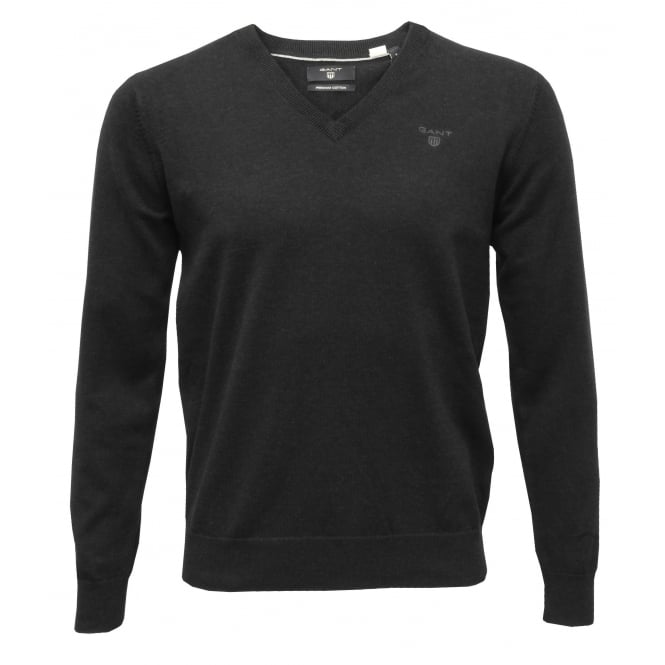 Gant Lightweight Cotton V-Neck Sweater, Dark Charcoal Melange