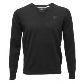 Lightweight Cotton V-Neck Sweater, Dark Charcoal Melange