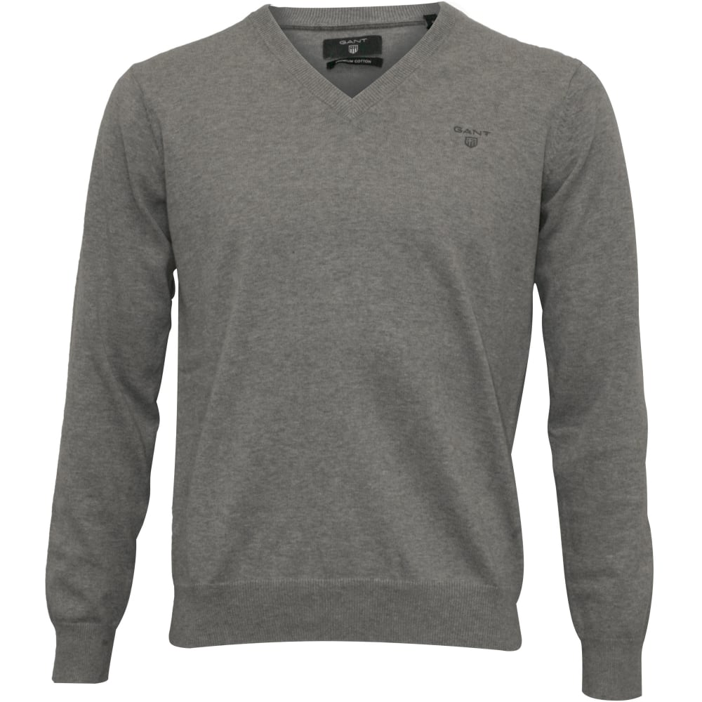 release date attractive style watch Lightweight Cotton V-Neck Sweater, Grey Melange