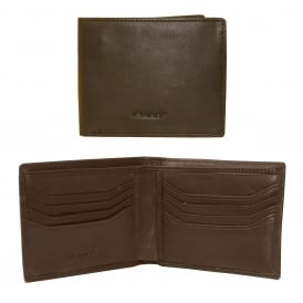 Lined Classic Premium Leather Wallet, Chocolate Brown
