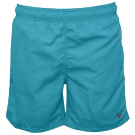 Long Cut Swim Shorts, Sage Blue