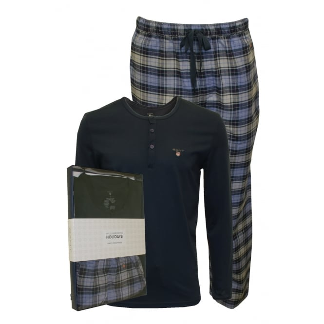 Gant Long-Sleeve Henley & Brushed Flannel Checked Bottoms Pyjama Set Gift Box, Blue/Navy