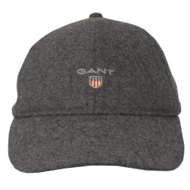 Melton Wool Mix Baseball Cap, Charcoal Melange