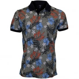 Multi Flower Print Pique Rugger Polo Shirt, Blue/Grey