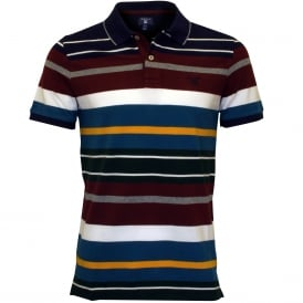 Multi Stripe Pique Rugger Polo Shirt, Burgundy/Blue