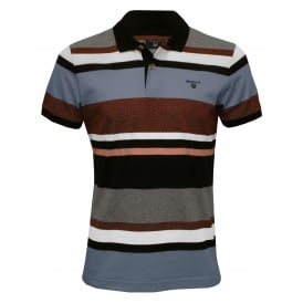 Multi-Stripe Pique Rugger Polo Shirt, Evening Blue