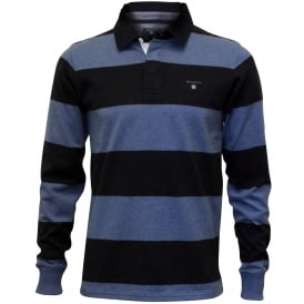 Original Barstripe Long-Sleeve Heavy Rugger Polo Shirt, Navy/Blue