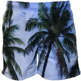 Palm Beach Photographic Print Swim Shorts, Topaz Blue