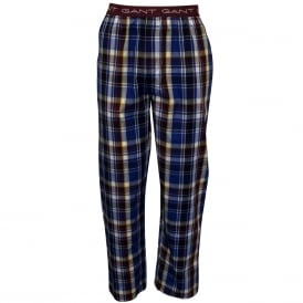 Park Avenue Check Woven Pyjama Bottoms, Blue/Burgundy