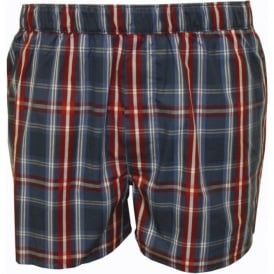 Plaid Woven Boxer Shorts, Navy/Red