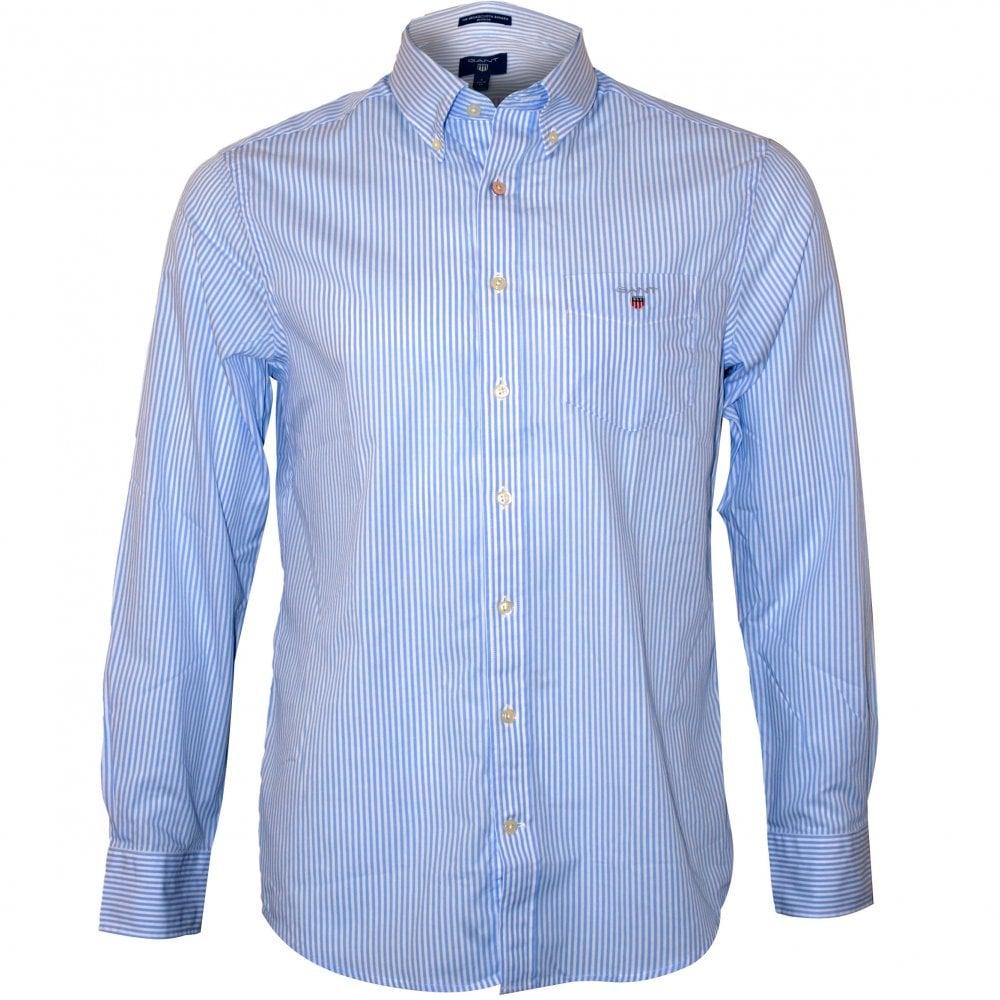 75fe18d654 Gant Regular Fit Broadcloth Banker Stripe Shirt, Capri Blue | UnderU