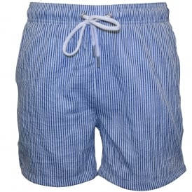 Seersucker Classic Swim Shorts, Nautical Blue