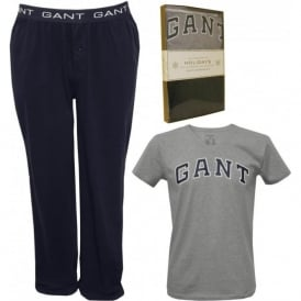 Short Sleeve T-Shirt and Jersey Pyjama Bottoms Set, Grey/Navy