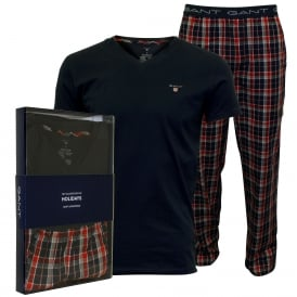 Short-Sleeve & Woven Checked Pyjama Set Gift Box, Navy/red