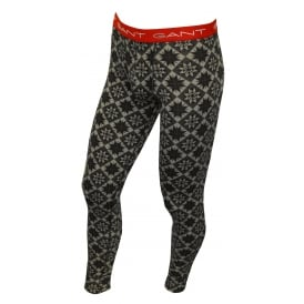 Snowflakes Pattern Stretch Cotton Long Johns, Grey Combination