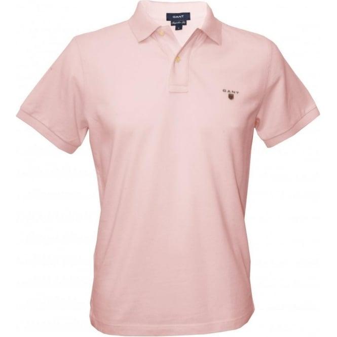 7ac56916b06f Gant Solid Pique Polo Men's T-shirt, Pink | UnderU