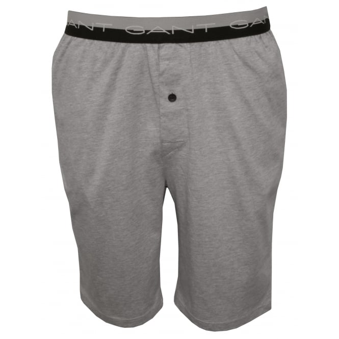 Gant Striped Waist Cotton Jersey Pyjama Shorts, Grey Melange
