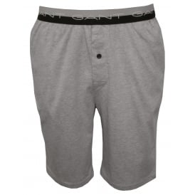 Striped Waist Cotton Jersey Pyjama Shorts, Grey Melange