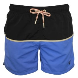 Two-Colour Block Classic Swim Shorts, Blue/Black
