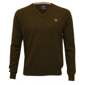 Wool Blend V-Neck Sweater, Dark Brown Melange