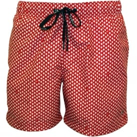Geo Print Swim Shorts, Red