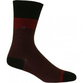 Giza Jacquard Egyptian Cotton Socks, Garnet Red