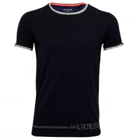 Crew-Neck T-Shirt, Evening Blue with marl grey trim