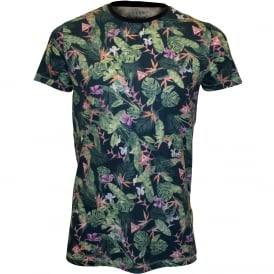 Floral Crew-Neck T-Shirt, Green/Blue