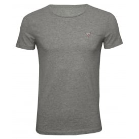 Hero Crew-Neck T-Shirt in Stretch Cotton, Grey Melange