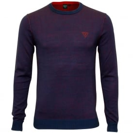 Luxe Crew-Neck Reversible Sweater, Navy/Coral marl
