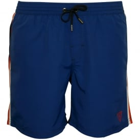 Sporty Stripe Swim Shorts, Blue/Navy