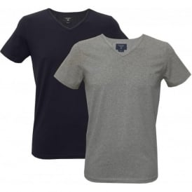 2-Pack V-Neck T-Shirts, Navy/Grey