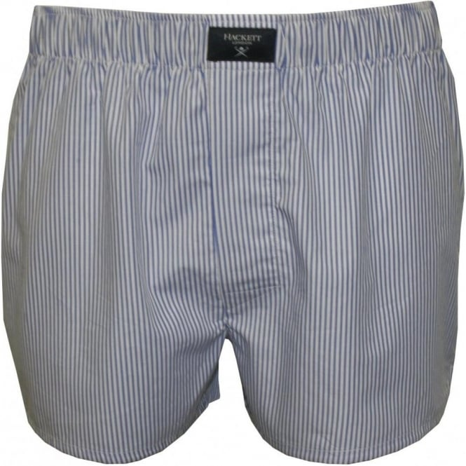 Hackett Woven Button-Fly Boxer Shorts, Blue/White Stripes
