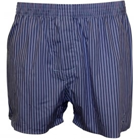 Haking Stripe Woven Boxer Shorts, Blue with coral stripe