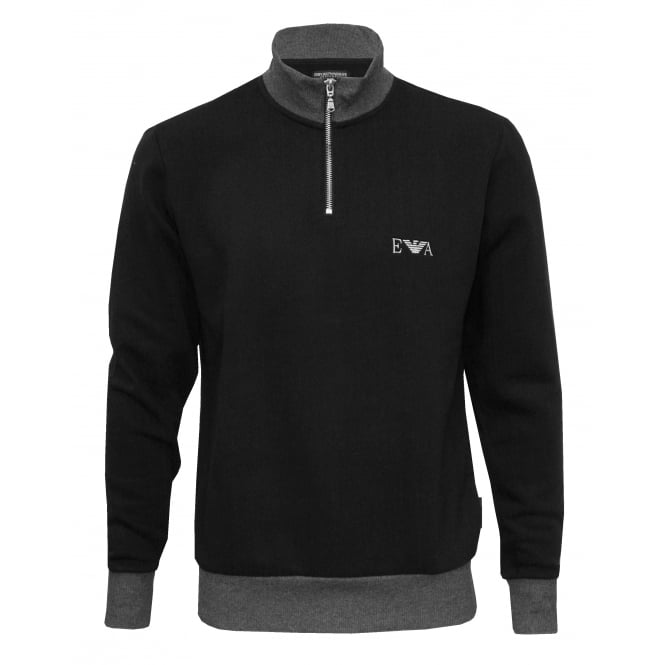 Emporio Armani Half-Zip Sports Jacket, Black/grey with silver logo