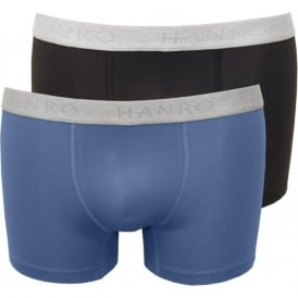 2-Pack Cotton Essentials Boxer Trunks, Blue/Navy