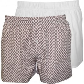 2-Pack Fancy Woven Boxer Shorts, White/Red