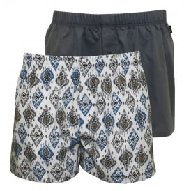2-Pack Fancy Woven Ikat Print Boxer Shorts, White/Blue
