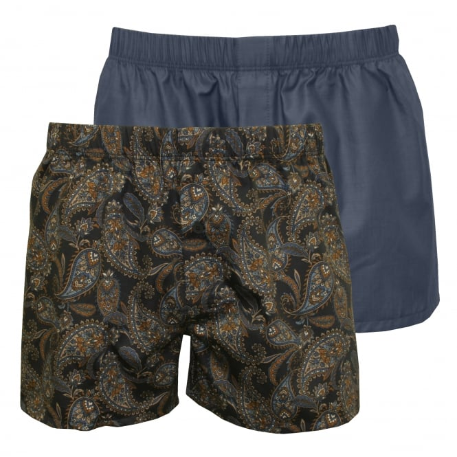 Hanro 2-Pack Fancy Woven Paisley & Solid Boxer Shorts, Blue/Navy