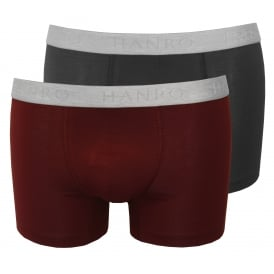 Cotton Essentials 2-Pack Boxer Trunks, Burgundy/Navy