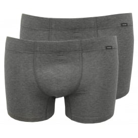 Cotton Essentials 2-Pack Boxer Trunks, Grey Melange